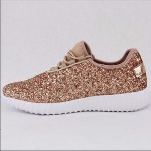 Rose Gold Glitter Sneakers size 7 NIB